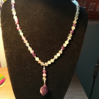 Fluorite and Amethyst long line necklace