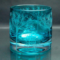 Teal tealight holder with sandblasted cow parsley design