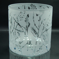 Large clear tealight holder with sandblasted grasses design
