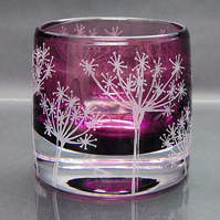 Heather tealight holder with cow parsley design