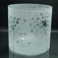 Large clear tealight holder with dandelion design