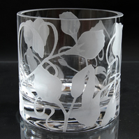 Large clear tealight holder with sweetpeas design