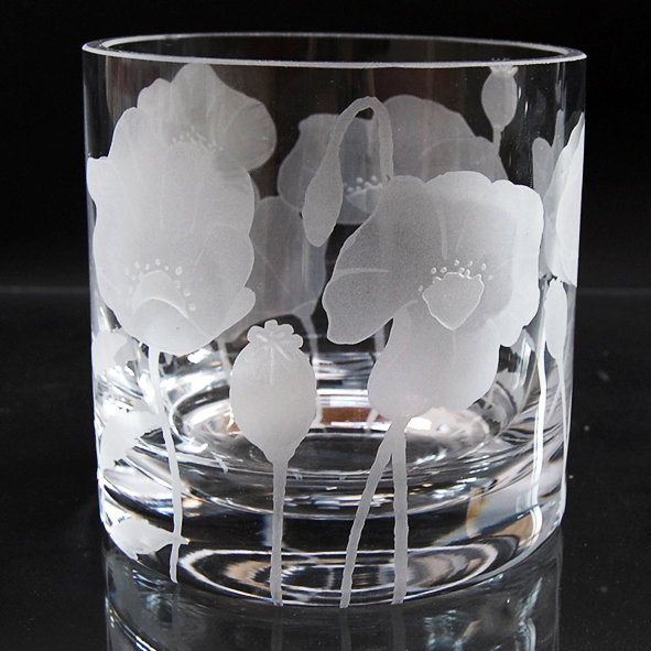 Large clear tealight holder with sandblasted poppies design