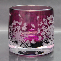 Heather tealight holder with dandelion design