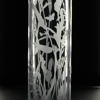 Slim column vase with sandblasted grasses design