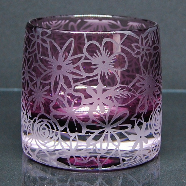 Heather tealight holder with sandblasted papercut design
