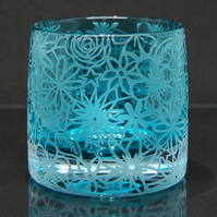 Teal tealight holder with sandblasted papercut design