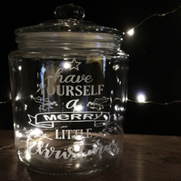 Etched Christmas Jar - 'have yourself a merry little Christmas'
