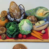 Dolls House Miniature Food-1:12th scale, Bread Basket & Vegetables With Bowl