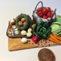 Dolls House Miniature Food - 1:12 Scale,  Apples & Vegetables
