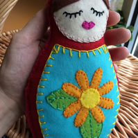 Christmas Sale, Felt Babushka Doll in Red (with orange flower)