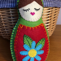Felt Doll Babushka - Green