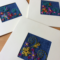 Greeting Cards - Set of 3 - Hand Embroidered