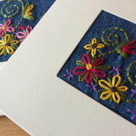 Greeting Cards  - Set of 3 - Hand Embroidered Denim