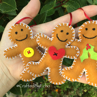 Christmas Gingerbread Men - Set Of Three
