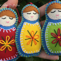 Babushkas, Blue - Set of Three