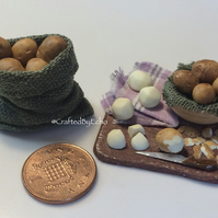 Dolls House Miniature Food - 1:12 Scale,  Potatoes to Peel