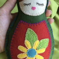 Christmas Sale, Felt Doll Babushka - Dark Green