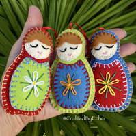 Christmas Decorations, Felt Babushkas,  Set of 3, Multi coloured with Red Ribbon