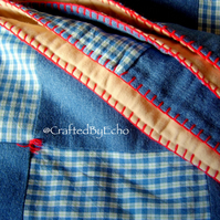 Cosy Patchwork Quilt, Cotton, Denim Checkerboard