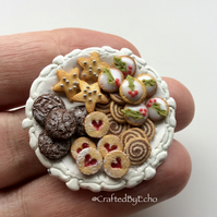 Dolls House Miniature Food - 1:12 Scale, Christmas Cookies on platter