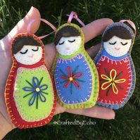 Christmas Decorations, Felt Babushkas,  Set of Three - Pink Ribbon