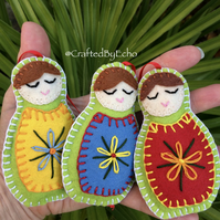 Christmas Decorations, Felt Babushkas,  Set of Three, Lime Green with Red Ribbon