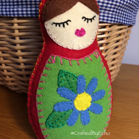 Felt Babushka Doll in Red ( Blue Flower )