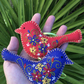 Christmas Decorations, Folk Art Embroidered Felt Birds, Set of Two, Red & Blue
