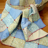 Cosy Patchwork Quilt, 'The Little House' 100% Cotton