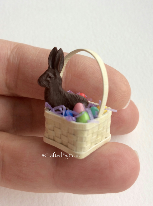 Dolls House Miniatures - Easter Egg and Bunny Basket - 1:12th scale