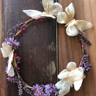 wild flower and butterfly hair wreath handmade floral hair crown