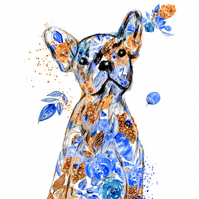 Dog art, French bulldog, wall art, home decor, limited edition dog print.