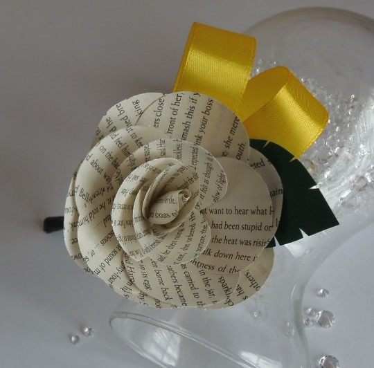 Book Boutonniere, Choice of authors and colours. Paper Flower Rose Buttonhole