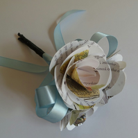 Winnie the Pooh Book Page Gift Posy with Pale Blue Ribbons