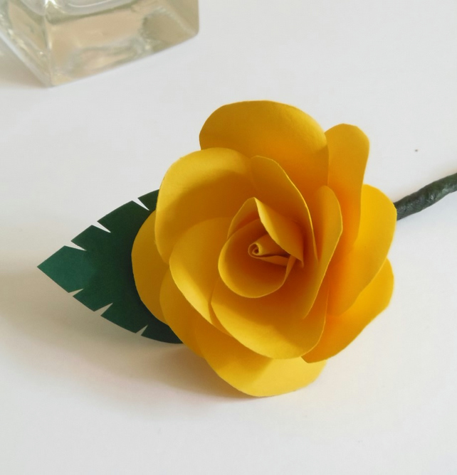 Paper Rose Buttonhole Flower, Boutonierre Choice of Colours available