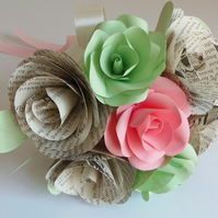 Choice of authors Pink and Mint Paper Flowers and Book Page Rose Bouquet Wedding