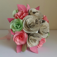 Choice of Authors Pink & Mint Green Bridal Bouquet Book Page Roses Paper Flowers
