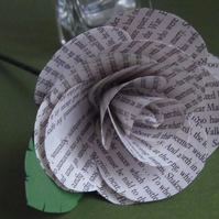 Loose Author Rose with leaf, choice of authors available. Book Flowers