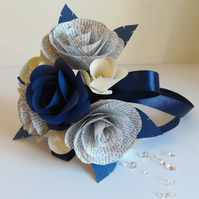 Petite Bridesmaid Posy Book Page and Navy Blue Flower Girl