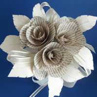 Petite Ivory Paper Bouquet Book Page Roses Wedding Bride Choice of authors