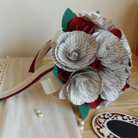 Book Page Bound Bouquet Wedding Flowers. Bride or Bridesmaid Choice of Colours