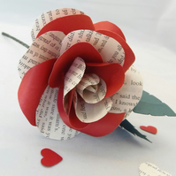 Hybrid Book Page Rose - Optional Gift Wrap, Choice of Author and Colour