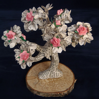 "Book Art Tree 6"" Pollyanna Bonsai with Pink Roses"