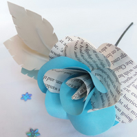 Book Page Rose ALICE IN WONDERLAND Teal Single Stem