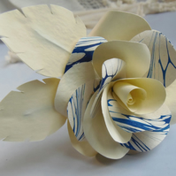 Marbled Paper Single Stem Rose - Blue and Ivory