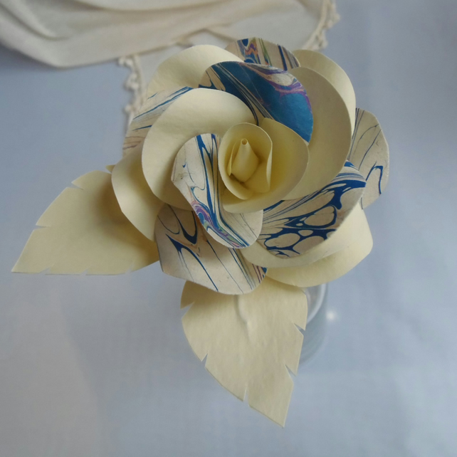 Marbled Paper Single Stem Rose Blue and Ivory