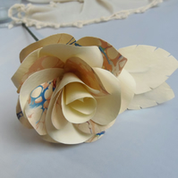 Marbled Paper Single Stem Rose Gold Peach