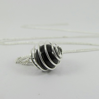Black Rainbow Obsidian Spiral Necklace