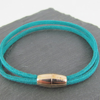 Faux Suede Double Strand Bracelet with Magnetic Clasp